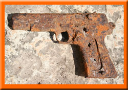 Rusty antique arm